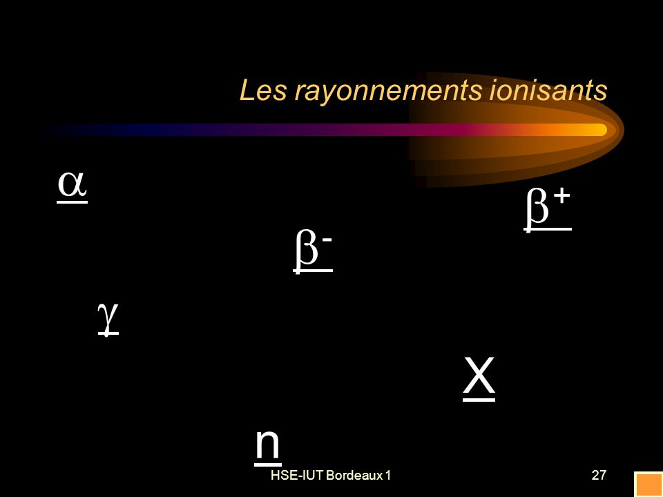 HSE-IUT Bordeaux 127 Les rayonnements ionisants - X n +