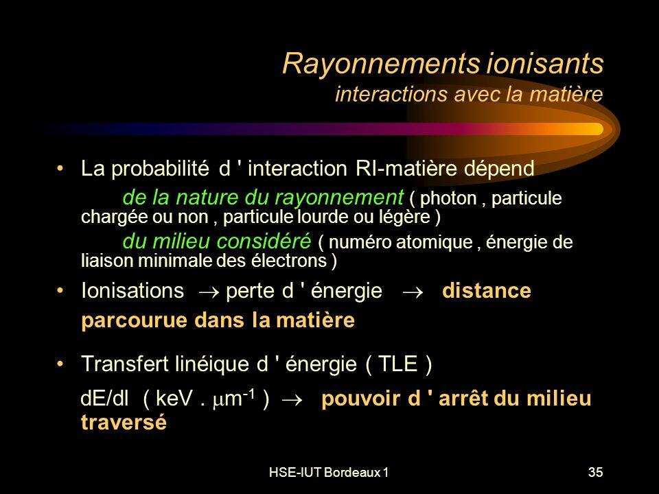 HSE-IUT Bordeaux 135 La probabilité d interaction RI-matière dépend de la nature du rayonnement ( photon, particule chargée ou non, particule lourde ou légère ) du milieu considéré ( numéro atomique, énergie de liaison minimale des électrons ) Ionisations perte d énergie distance parcourue dans la matière Transfert linéique d énergie ( TLE ) dE/dl ( keV.