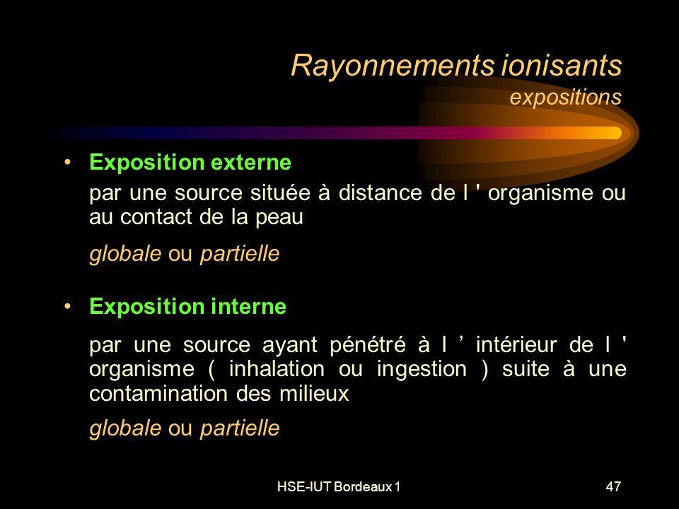 HSE-IUT Bordeaux 147 Rayonnements ionisants expositions Exposition externe par une source située à distance de l organisme ou au contact de la peau globale ou partielle Exposition interne par une source ayant pénétré à l intérieur de l organisme ( inhalation ou ingestion ) suite à une contamination des milieux globale ou partielle