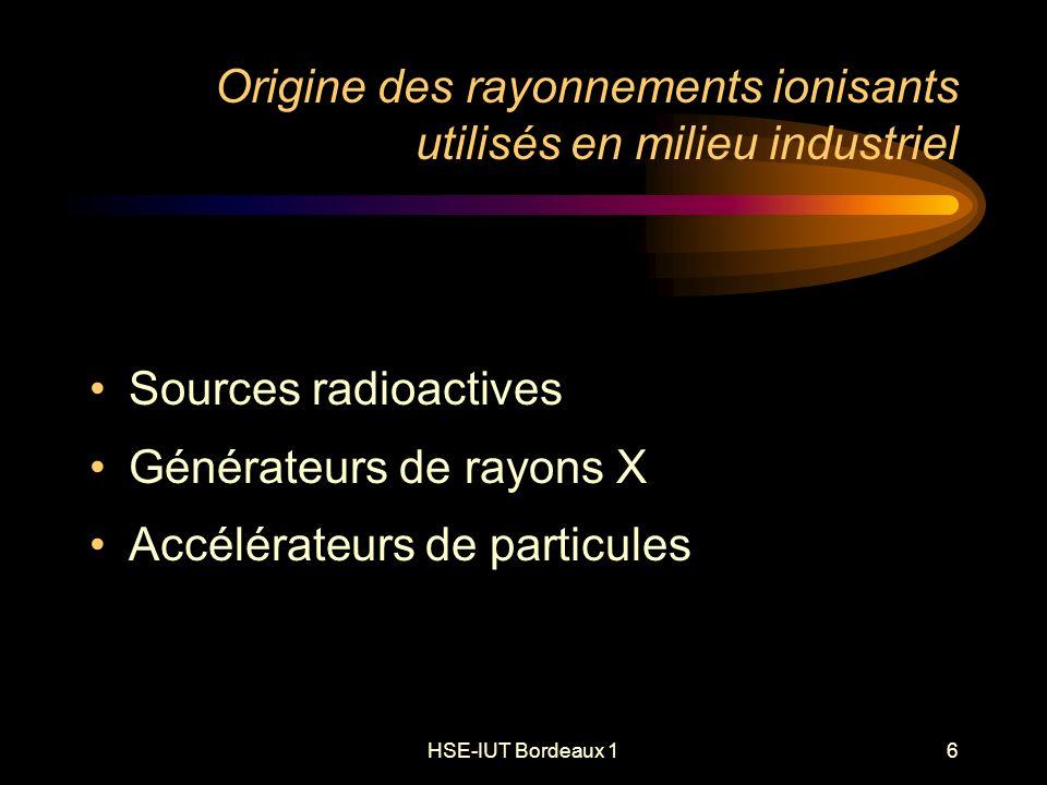 HSE-IUT Bordeaux 16 Origine des rayonnements ionisants utilisés en milieu industriel Sources radioactives Générateurs de rayons X Accélérateurs de particules
