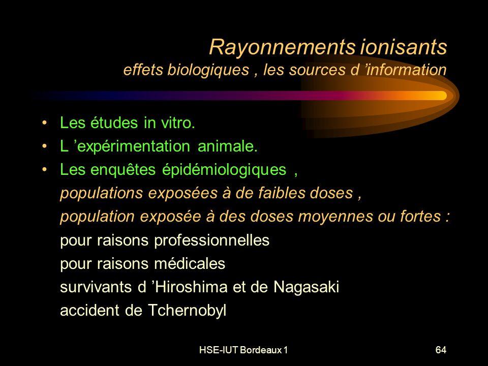 HSE-IUT Bordeaux 164 Rayonnements ionisants effets biologiques, les sources d information Les études in vitro.