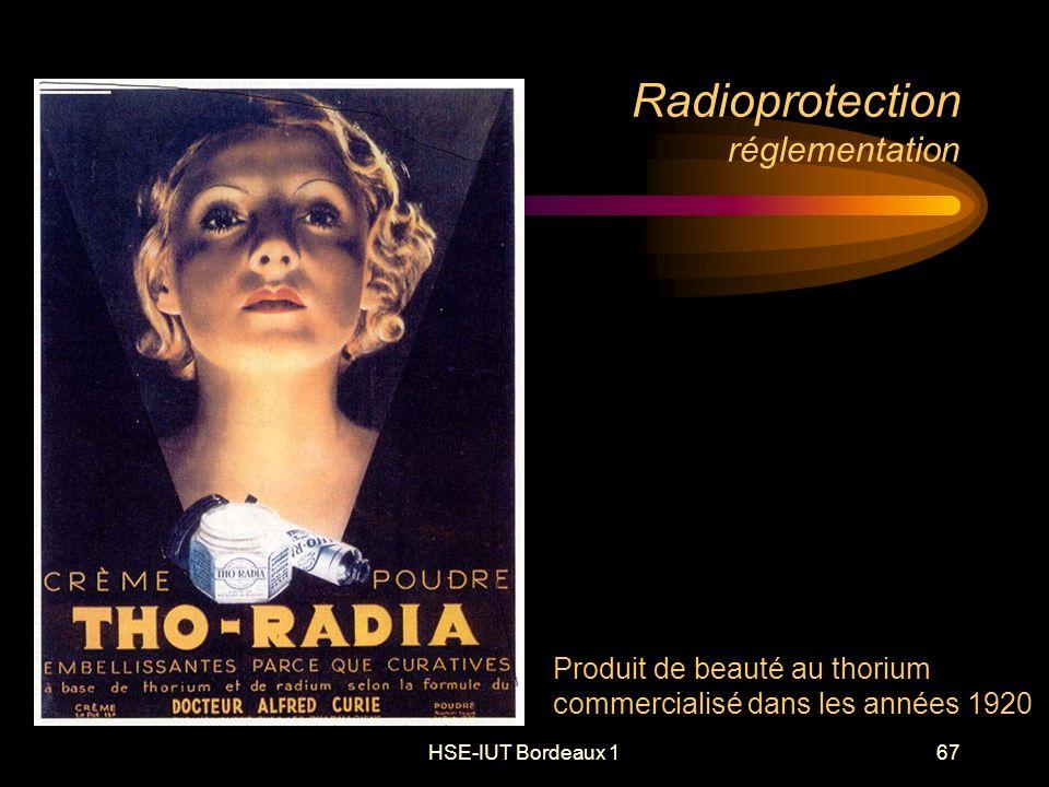 HSE-IUT Bordeaux 167 Radioprotection réglementation Produit de beauté au thorium commercialisé dans les années 1920
