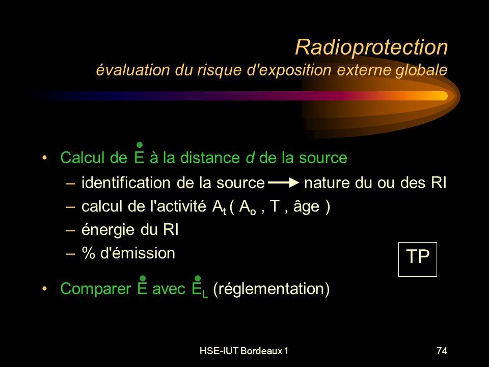 HSE-IUT Bordeaux 174 Radioprotection évaluation du risque d exposition externe globale Calcul de E à la distance d de la source –identification de la source nature du ou des RI –calcul de l activité A t ( A o, T, âge ) –énergie du RI –% d émission Comparer E avec E L (réglementation) TP