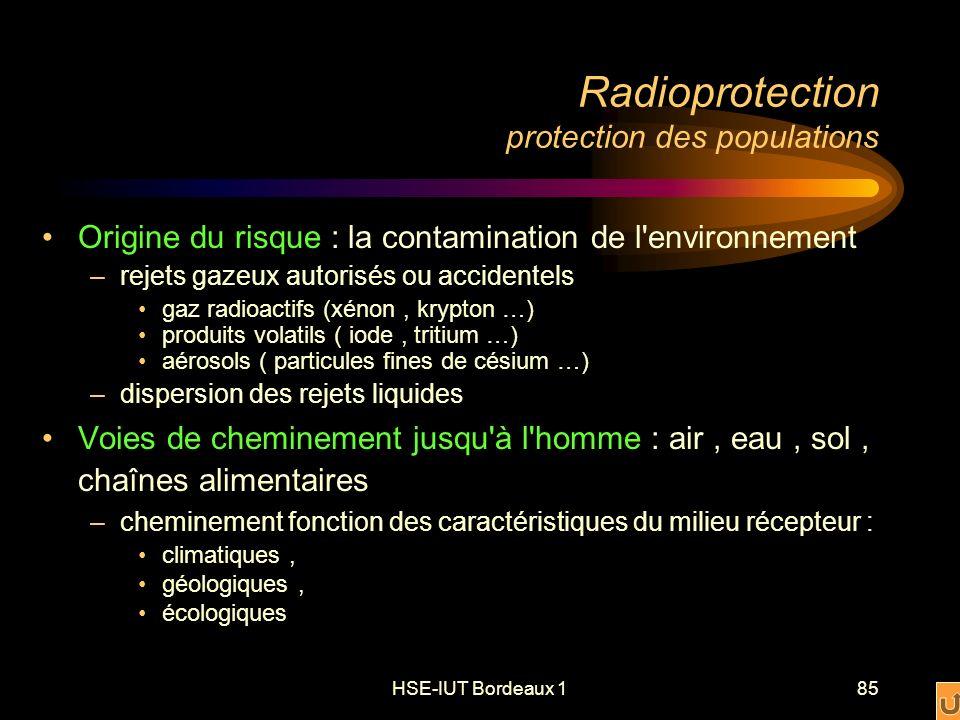 HSE-IUT Bordeaux 185 Radioprotection protection des populations Origine du risque : la contamination de l environnement –rejets gazeux autorisés ou accidentels gaz radioactifs (xénon, krypton …) produits volatils ( iode, tritium …) aérosols ( particules fines de césium …) –dispersion des rejets liquides Voies de cheminement jusqu à l homme : air, eau, sol, chaînes alimentaires –cheminement fonction des caractéristiques du milieu récepteur : climatiques, géologiques, écologiques