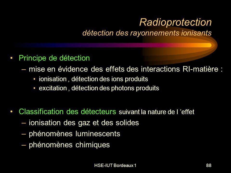 HSE-IUT Bordeaux 188 Radioprotection détection des rayonnements ionisants Principe de détection –mise en évidence des effets des interactions RI-matière : ionisation, détection des ions produits excitation, détection des photons produits Classification des détecteurs suivant la nature de l effet –ionisation des gaz et des solides –phénomènes luminescents –phénomènes chimiques