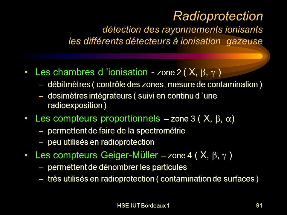HSE-IUT Bordeaux 191 Radioprotection détection des rayonnements ionisants les différents détecteurs à ionisation gazeuse Les chambres d ionisation - zone 2 ( X,, ) –débitmètres ( contrôle des zones, mesure de contamination ) –dosimètres intégrateurs ( suivi en continu d une radioexposition ) Les compteurs proportionnels – zone 3 ( X,, ) –permettent de faire de la spectrométrie –peu utilisés en radioprotection Les compteurs Geiger-Müller – zone 4 ( X,, ) –permettent de dénombrer les particules –très utilisés en radioprotection ( contamination de surfaces )