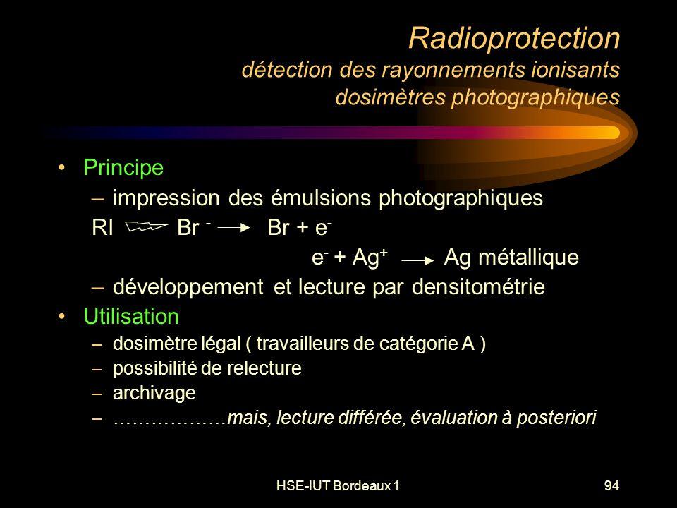 HSE-IUT Bordeaux 194 Radioprotection détection des rayonnements ionisants dosimètres photographiques Principe –impression des émulsions photographiques RI Br - Br + e - e - + Ag + Ag métallique –développement et lecture par densitométrie Utilisation –dosimètre légal ( travailleurs de catégorie A ) –possibilité de relecture –archivage –………………mais, lecture différée, évaluation à posteriori