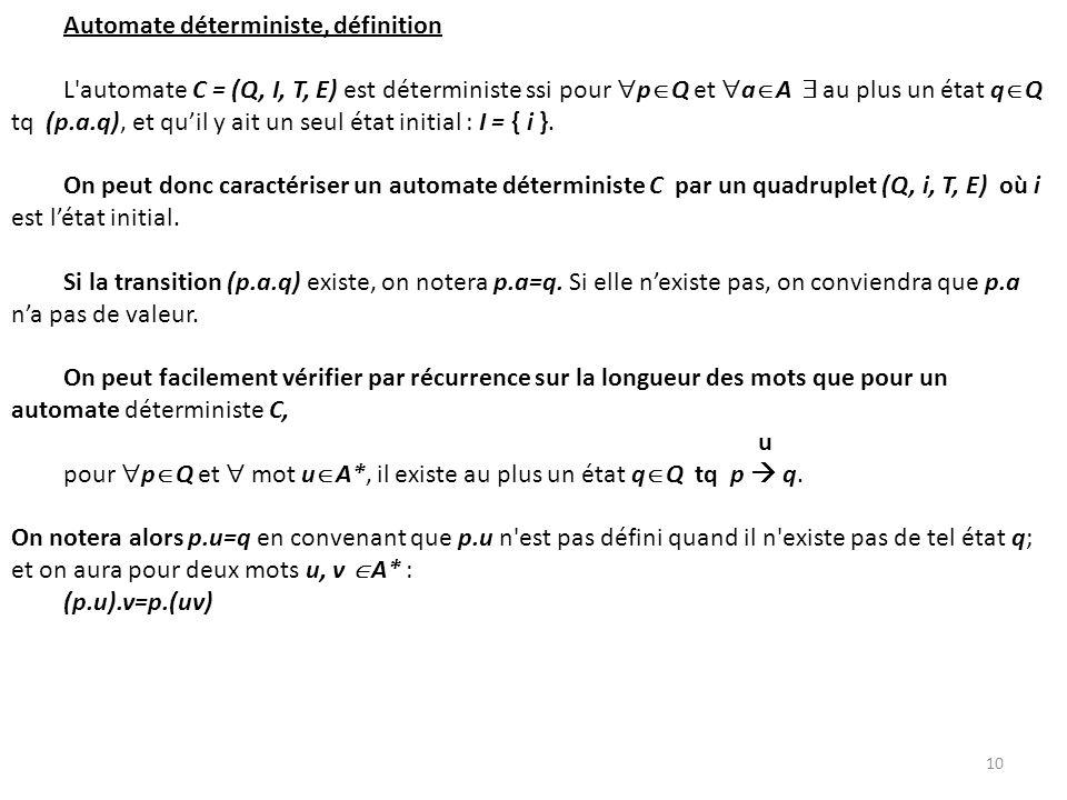 Automate déterministe, définition L'automate C = (Q, I, T, E) est déterministe ssi pour p Q et a A au plus un état q Q tq (p.a.q), et quil y ait un se