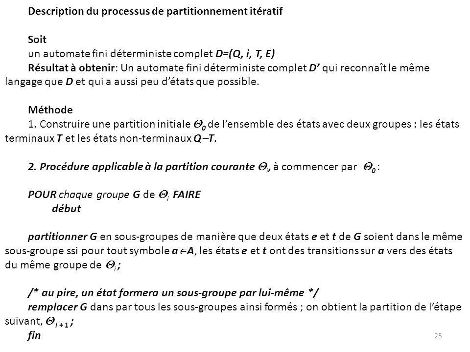 Description du processus de partitionnement itératif Soit un automate fini déterministe complet D=(Q, i, T, E) Résultat à obtenir: Un automate fini dé