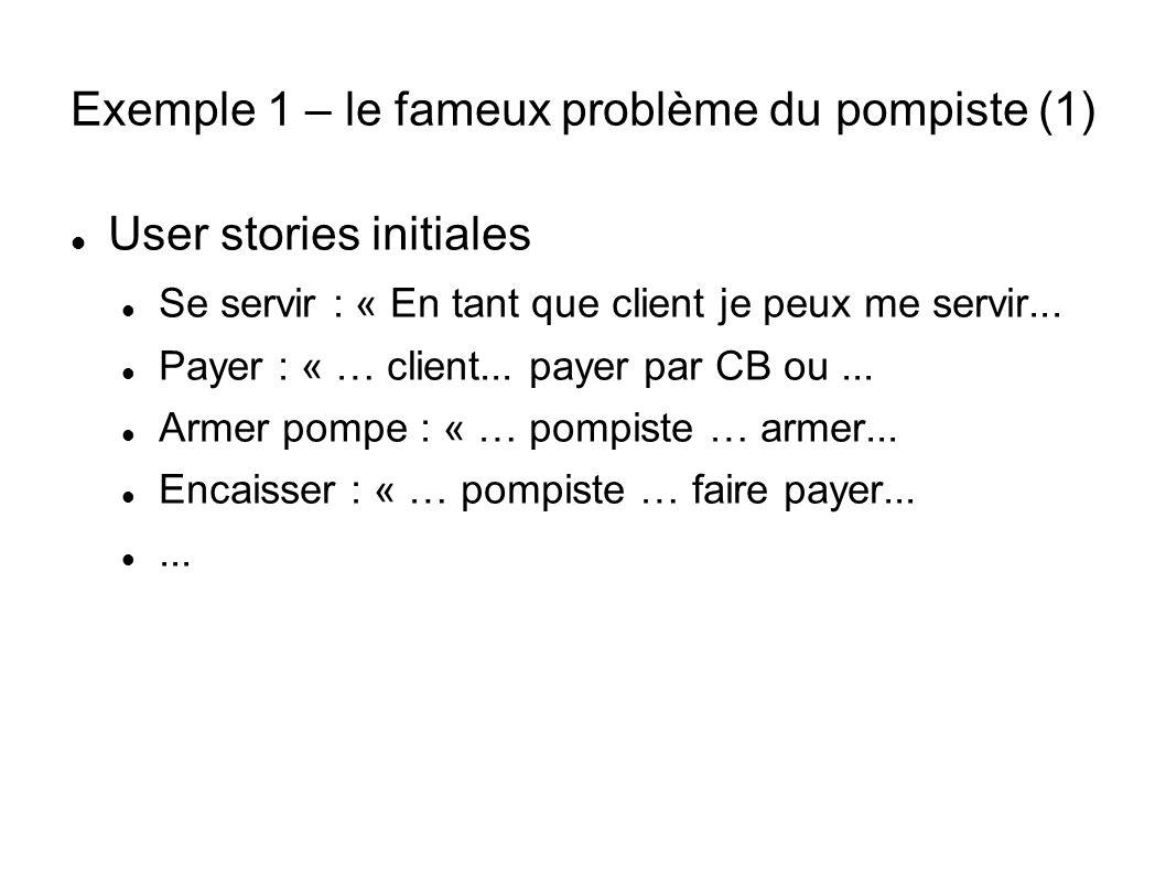 Exemple 1 – le fameux problème du pompiste (1) User stories initiales Se servir : « En tant que client je peux me servir...