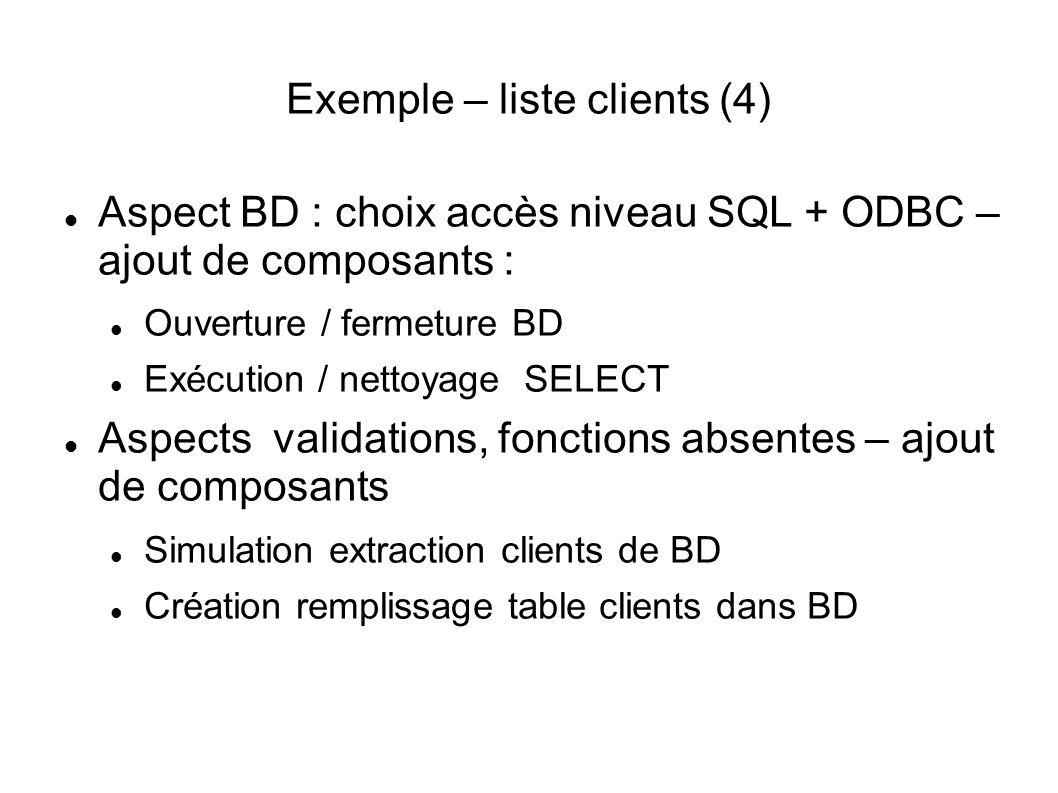 Exemple – liste clients (4) Aspect BD : choix accès niveau SQL + ODBC – ajout de composants : Ouverture / fermeture BD Exécution / nettoyage SELECT Aspects validations, fonctions absentes – ajout de composants Simulation extraction clients de BD Création remplissage table clients dans BD