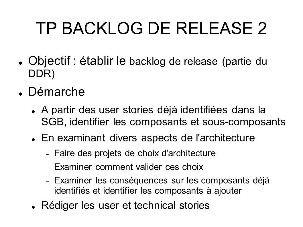 TP BACKLOG DE RELEASE 2 Objectif : établir le backlog de release (partie du DDR) Démarche A partir des user stories déjà identifiées dans la SGB, identifier les composants et sous-composants En examinant divers aspects de l architecture Faire des projets de choix d architecture Examiner comment valider ces choix Examiner les conséquences sur les composants déjà identifiés et identifier les composants à ajouter Rédiger les user et technical stories