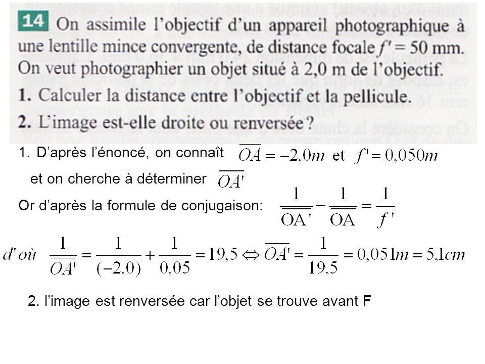 1.Daprès lénoncé, on connaît et on cherche à déterminer Or daprès la formule de conjugaison: 2. limage est renversée car lobjet se trouve avant F