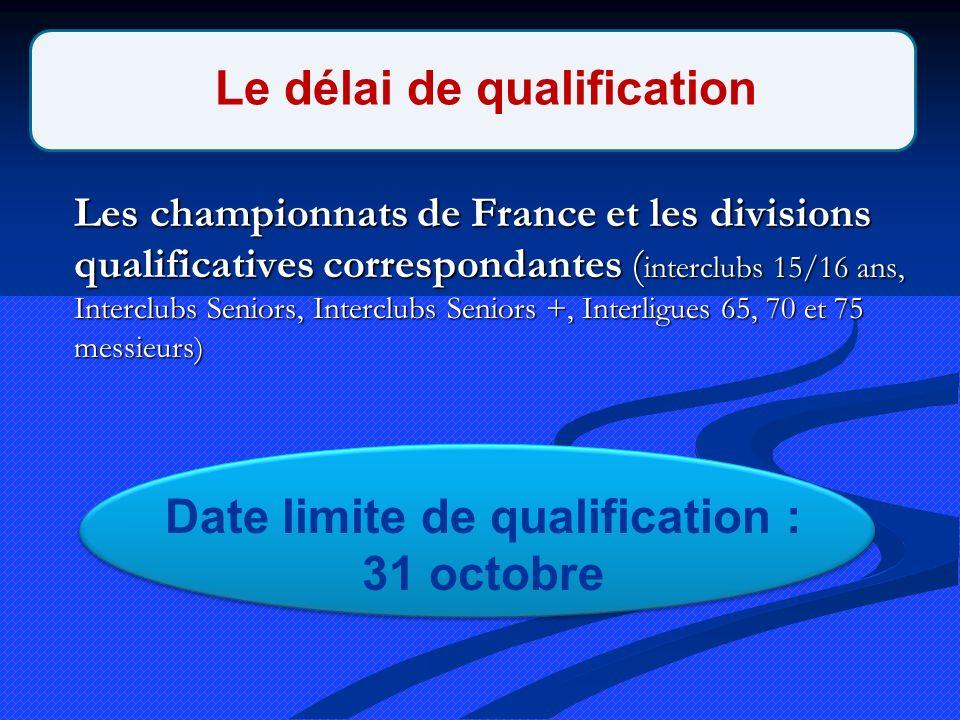Les championnats de France et les divisions qualificatives correspondantes ( interclubs 15/16 ans, Interclubs Seniors, Interclubs Seniors +, Interligues 65, 70 et 75 messieurs) Le délai de qualification Date limite de qualification : 31 octobre