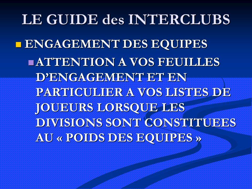 LE GUIDE des INTERCLUBS ENGAGEMENT DES EQUIPES ENGAGEMENT DES EQUIPES ATTENTION A VOS FEUILLES DENGAGEMENT ET EN PARTICULIER A VOS LISTES DE JOUEURS LORSQUE LES DIVISIONS SONT CONSTITUEES AU « POIDS DES EQUIPES » ATTENTION A VOS FEUILLES DENGAGEMENT ET EN PARTICULIER A VOS LISTES DE JOUEURS LORSQUE LES DIVISIONS SONT CONSTITUEES AU « POIDS DES EQUIPES »