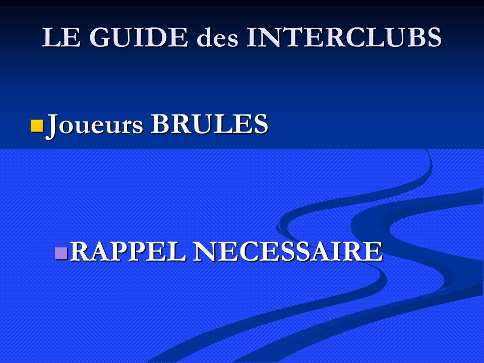 LE GUIDE des INTERCLUBS Joueurs BRULES Joueurs BRULES RAPPEL NECESSAIRE RAPPEL NECESSAIRE