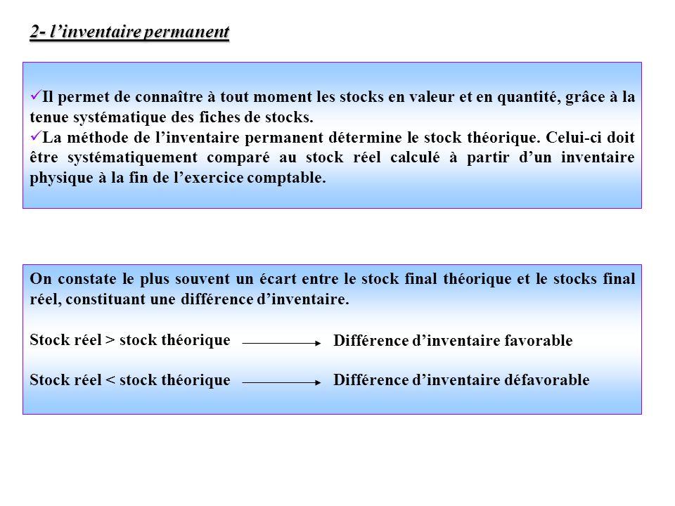 Il permet de connaître à tout moment les stocks en valeur et en quantité, grâce à la tenue systématique des fiches de stocks. La méthode de linventair