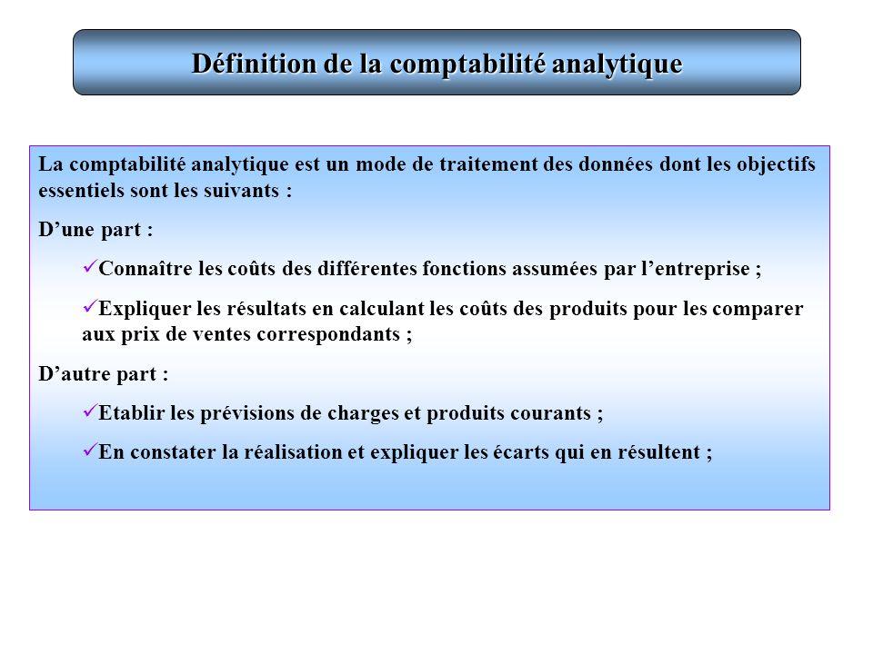 Définition de la comptabilité analytique La comptabilité analytique est un mode de traitement des données dont les objectifs essentiels sont les suiva