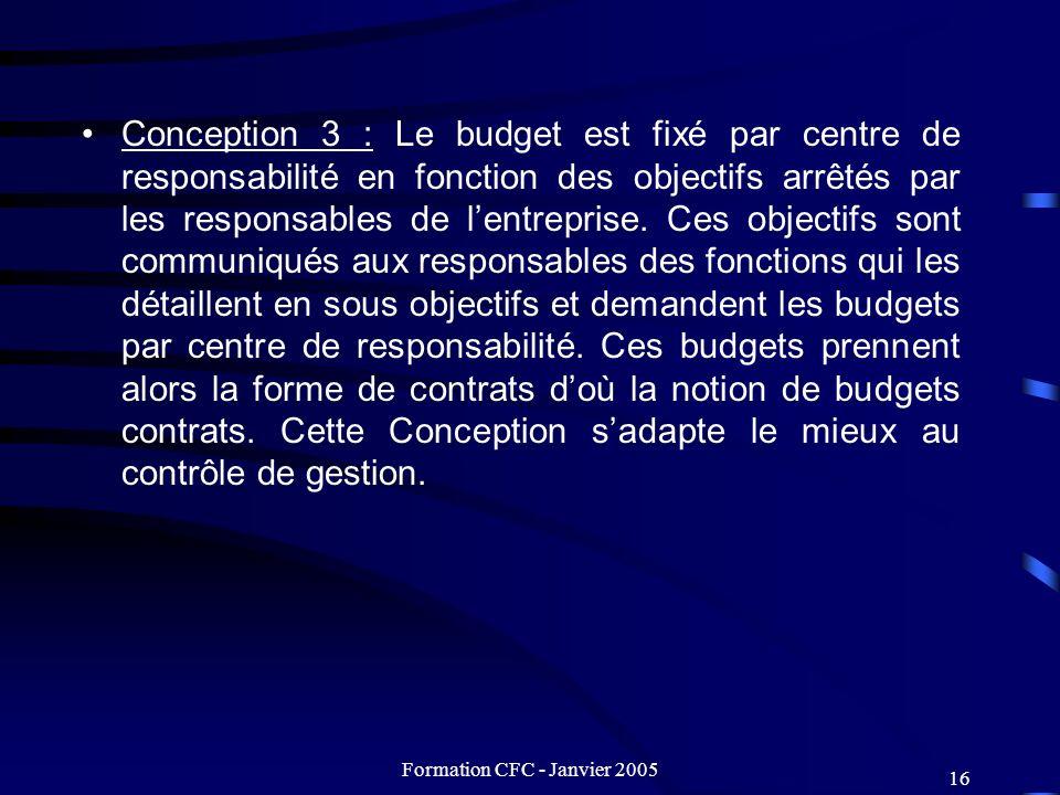 Formation CFC - Janvier 2005 16 Conception 3 : Le budget est fixé par centre de responsabilité en fonction des objectifs arrêtés par les responsables