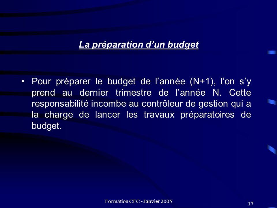 Formation CFC - Janvier 2005 17 La préparation dun budget Pour préparer le budget de lannée (N+1), lon sy prend au dernier trimestre de lannée N. Cett