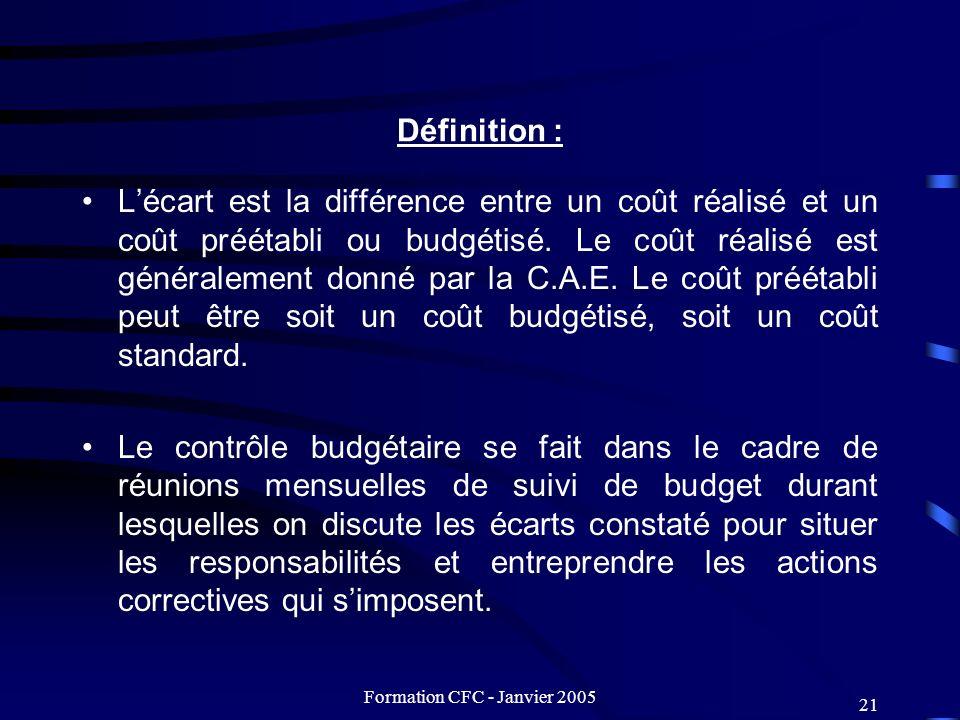 Formation CFC - Janvier 2005 21 Définition : Lécart est la différence entre un coût réalisé et un coût préétabli ou budgétisé. Le coût réalisé est gén
