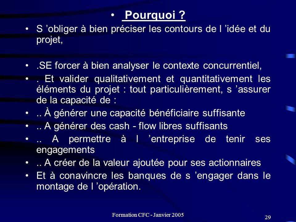 Formation CFC - Janvier 2005 29 Pourquoi ? S obliger à bien préciser les contours de l idée et du projet,.SE forcer à bien analyser le contexte concur