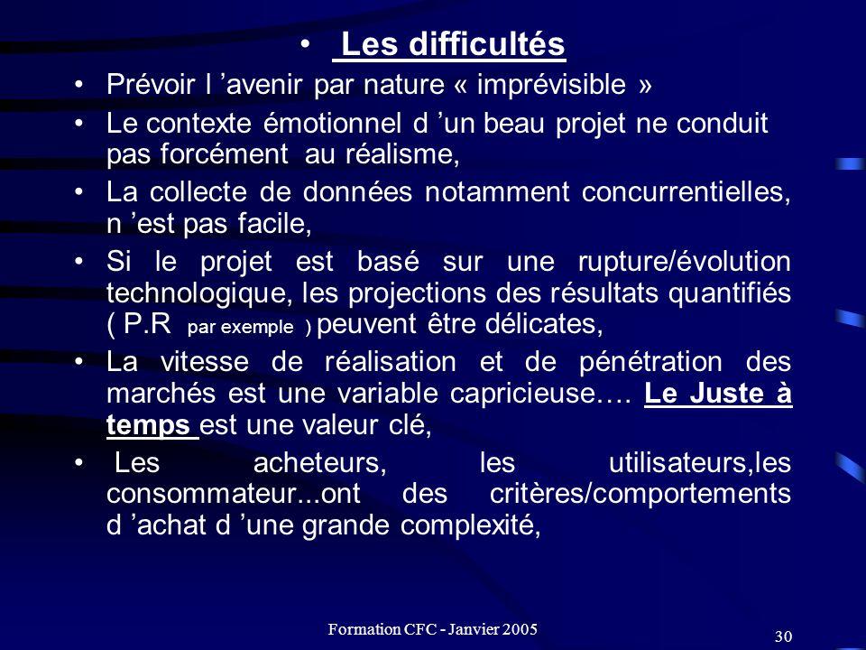 Formation CFC - Janvier 2005 30 Les difficultés Prévoir l avenir par nature « imprévisible » Le contexte émotionnel d un beau projet ne conduit pas fo