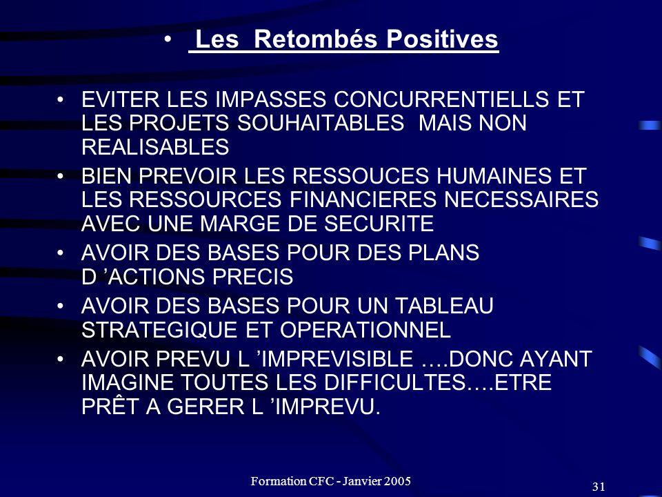 Formation CFC - Janvier 2005 31 Les Retombés Positives EVITER LES IMPASSES CONCURRENTIELLS ET LES PROJETS SOUHAITABLES MAIS NON REALISABLES BIEN PREVO