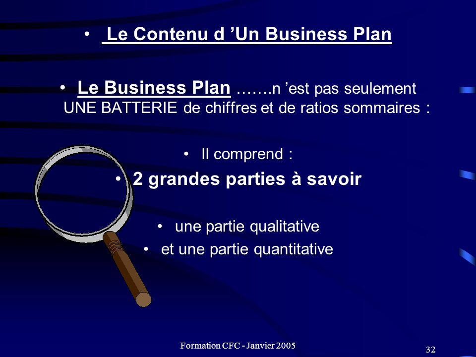 Formation CFC - Janvier 2005 32 Le Contenu d Un Business Plan Le Business Plan …….n est pas seulement UNE BATTERIE de chiffres et de ratios sommaires