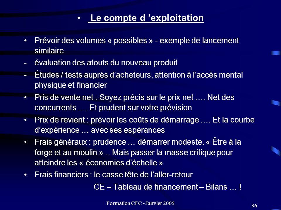 Formation CFC - Janvier 2005 36 Le compte d exploitation Prévoir des volumes « possibles » - exemple de lancement similaire -évaluation des atouts du