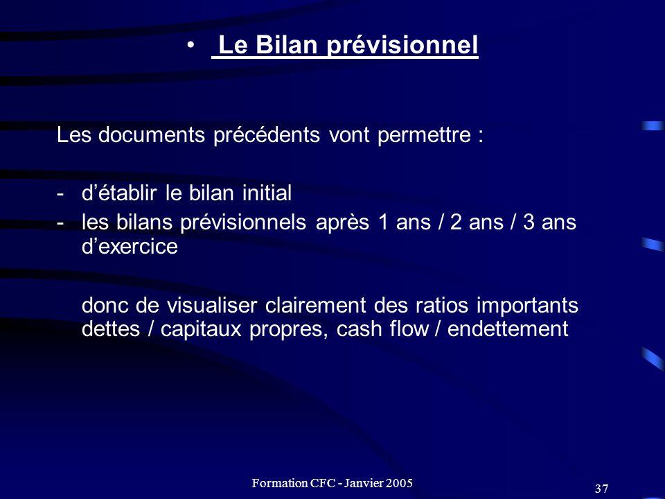 Formation CFC - Janvier 2005 37 Le Bilan prévisionnel Les documents précédents vont permettre : -détablir le bilan initial -les bilans prévisionnels a