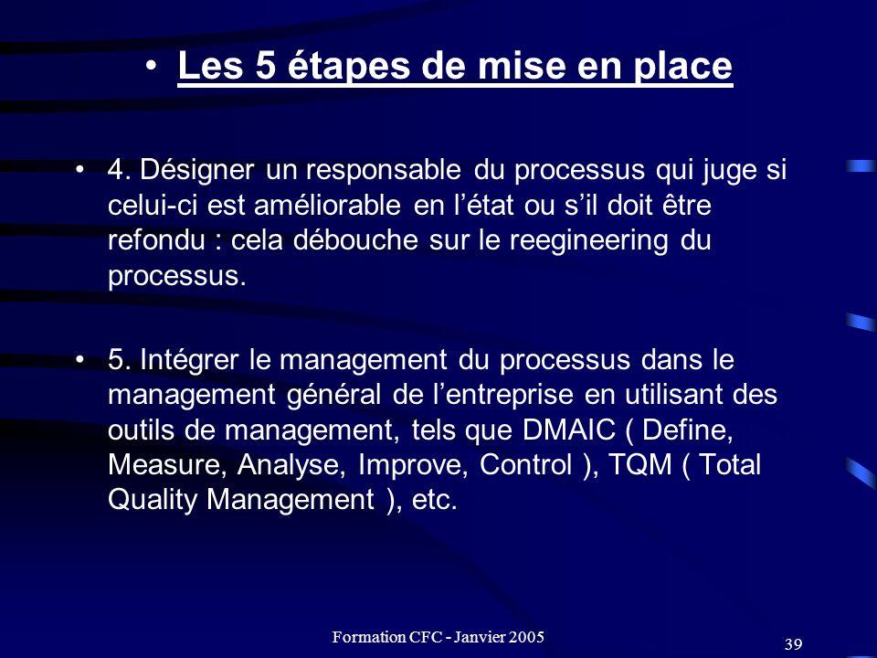 Formation CFC - Janvier 2005 39 Les 5 étapes de mise en place 4. Désigner un responsable du processus qui juge si celui-ci est améliorable en létat ou