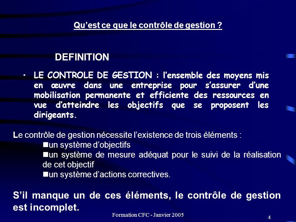 Formation CFC - Janvier 2005 5 Le contrôle de gestion doit : - tendre vers la responsabilisait de chacun dans sa tâche, - permettre dintéresser chacun à ce quil fait et amener chacun à participer effectivement à lorganisation et à la gestion de lentité à laquelle il appartient.