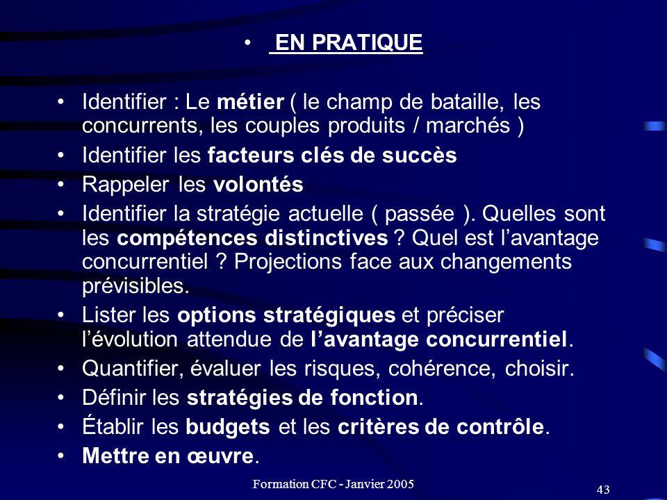 Formation CFC - Janvier 2005 43 EN PRATIQUE Identifier : Le métier ( le champ de bataille, les concurrents, les couples produits / marchés ) Identifie