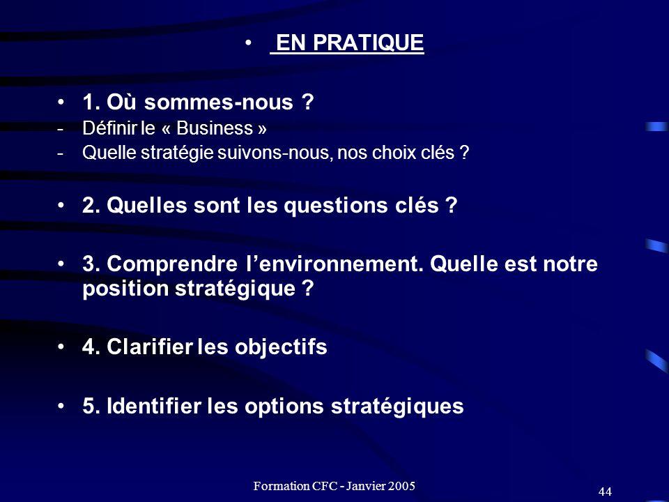 Formation CFC - Janvier 2005 44 EN PRATIQUE 1. Où sommes-nous ? -Définir le « Business » -Quelle stratégie suivons-nous, nos choix clés ? 2. Quelles s