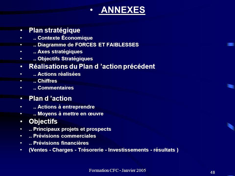 Formation CFC - Janvier 2005 48 ANNEXES Plan stratégique.. Contexte Économique.. Diagramme de FORCES ET FAIBLESSES.. Axes stratégiques.. Objectifs Str
