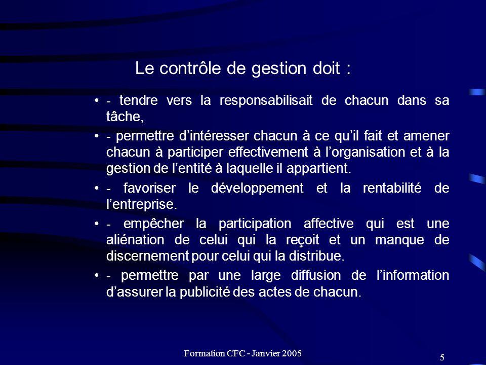 Formation CFC - Janvier 2005 6 Principes Le contrôle de gestion doit être conçu de façon telle quil remplisse sa mission de moteur auxiliaire de laction.
