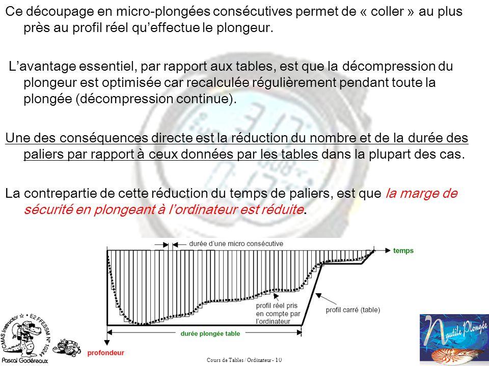 Cours de Tables / Ordinateur - 10 Ce découpage en micro-plongées consécutives permet de « coller » au plus près au profil réel queffectue le plongeur.