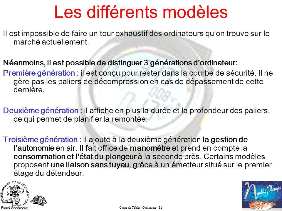 Cours de Tables / Ordinateur - 18 Les différents modèles Il est impossible de faire un tour exhaustif des ordinateurs quon trouve sur le marché actuel