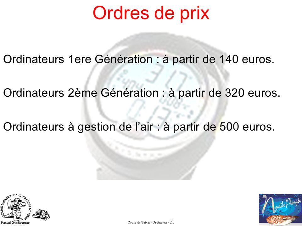 Cours de Tables / Ordinateur - 21 Ordres de prix Ordinateurs 1ere Génération : à partir de 140 euros. Ordinateurs 2ème Génération : à partir de 320 eu