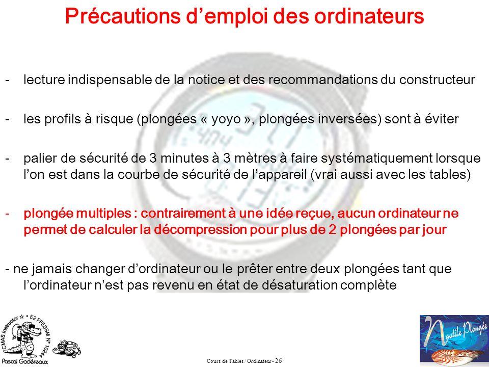 Cours de Tables / Ordinateur - 26 Précautions demploi des ordinateurs -lecture indispensable de la notice et des recommandations du constructeur -les