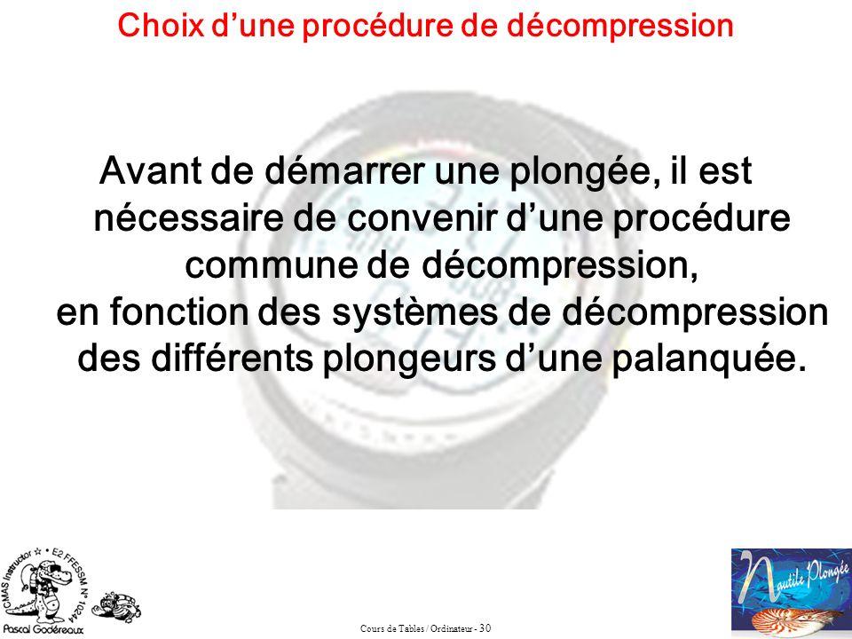 Cours de Tables / Ordinateur - 30 Choix dune procédure de décompression Avant de démarrer une plongée, il est nécessaire de convenir dune procédure co