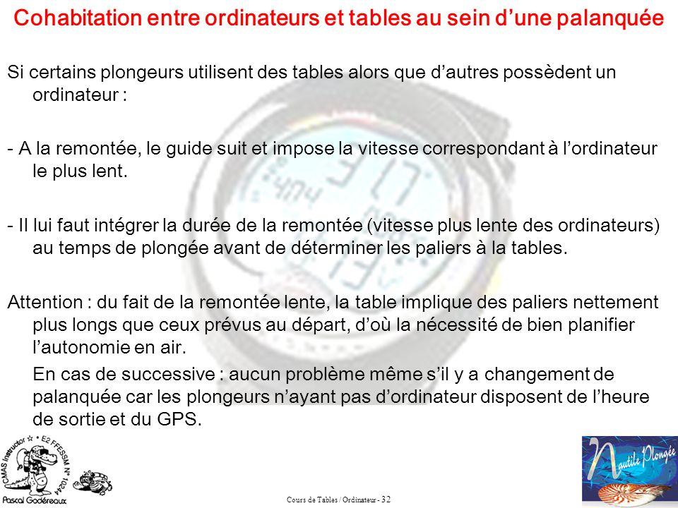 Cours de Tables / Ordinateur - 32 Si certains plongeurs utilisent des tables alors que dautres possèdent un ordinateur : - A la remontée, le guide sui