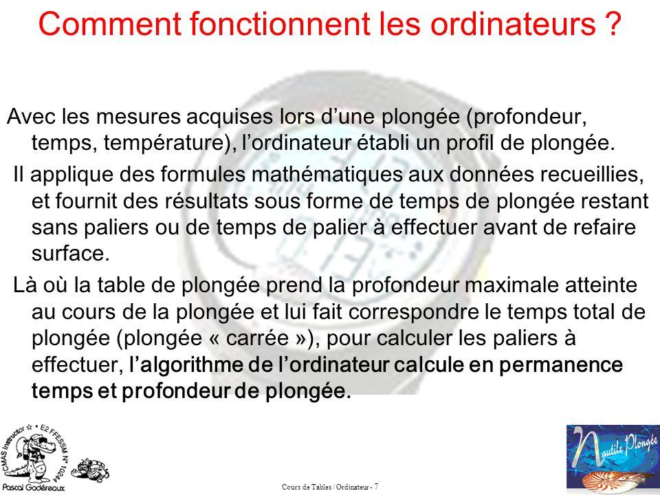 Cours de Tables / Ordinateur - 7 Comment fonctionnent les ordinateurs ? Avec les mesures acquises lors dune plongée (profondeur, temps, température),