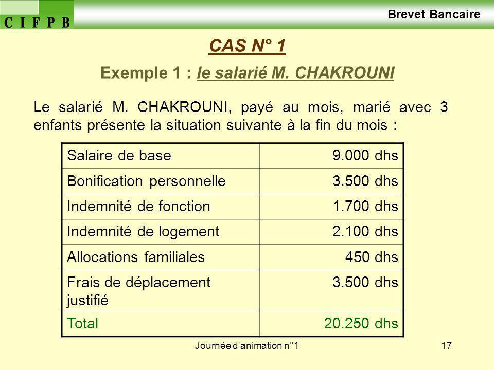 Journée d'animation n°117 CAS N° 1 Le salarié M. CHAKROUNI, payé au mois, marié avec 3 enfants présente la situation suivante à la fin du mois : Exemp