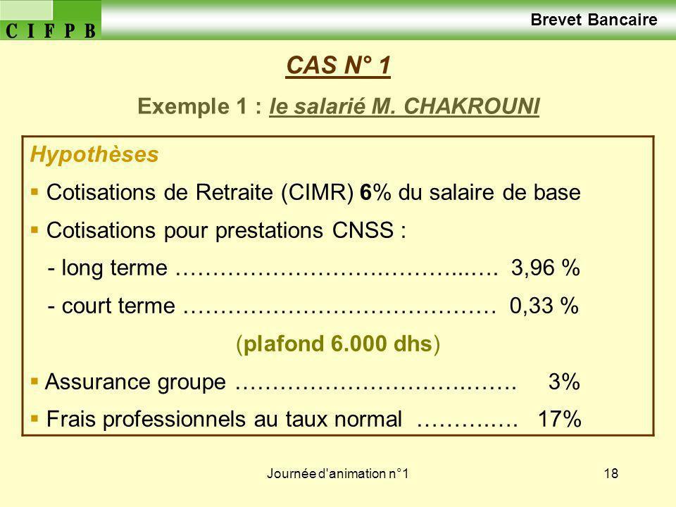 Journée d'animation n°118 CAS N° 1 Exemple 1 : le salarié M. CHAKROUNI Hypothèses Cotisations de Retraite (CIMR) 6% du salaire de base Cotisations pou