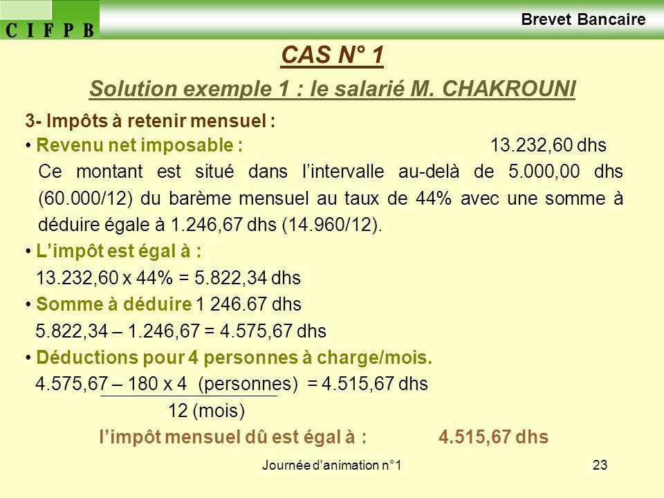 Journée d'animation n°123 CAS N° 1 Solution exemple 1 : le salarié M. CHAKROUNI Brevet Bancaire 3- Impôts à retenir mensuel : Revenu net imposable : 1