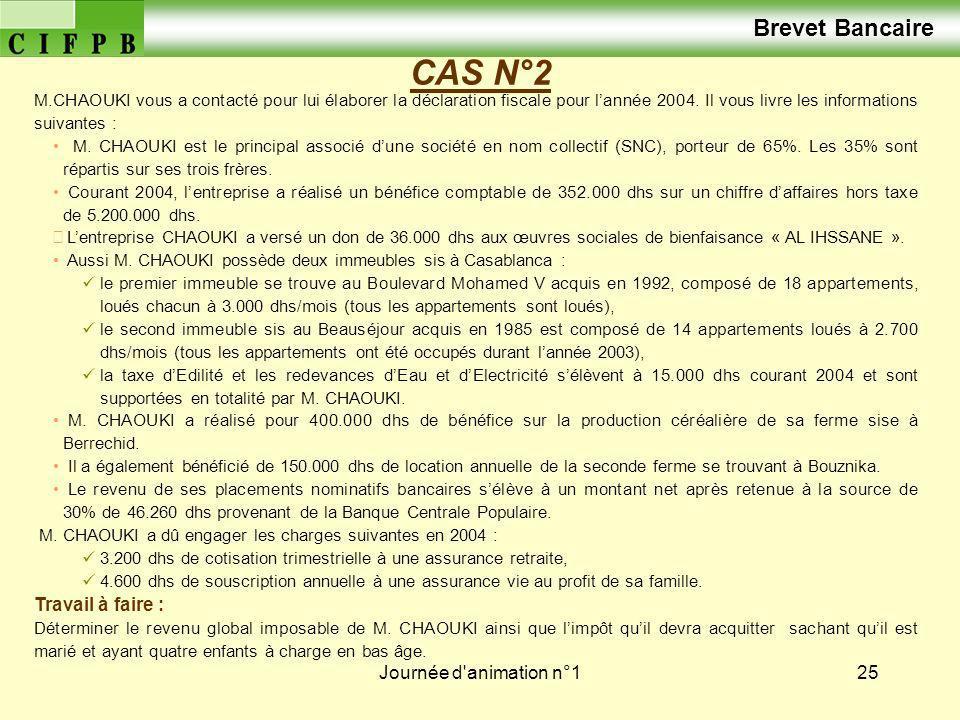 Journée d animation n°126 CAS N° 2 (solution de lexercice) A/ Détermination du revenu professionnel de M.