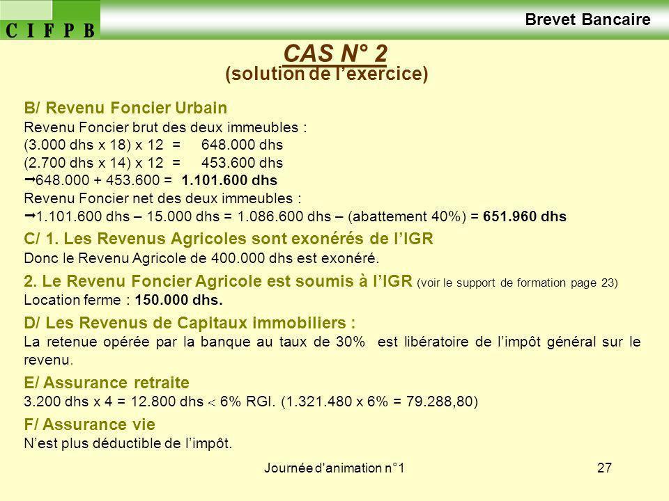 Journée d animation n°128 CAS N° 2 (solution de lexercice) A/ Revenu Professionnel 375 520 dhs B/ Revenu Foncier net 651.960 dhs C/ Revenu Foncier Agricole 150.000 dhs 1.177.480 dhs Déduction sur revenu : Assurance retraite (3.200 dhs x 4) = 12.800 dhs RGI : 1.177.480 – 12.800 = 1.164.680 dhs Impôt brut : (1.164.680 x 44%) - 14.960 = 497.499,2 dhs Charges Familiales : 180 x 5 (épouse + 4 enfants) = 900 dhs - 900,00 dhs F/ Assurance vie : Nest plus déductible de limpôt Retenu à la source Impôt net 496.599,00 dhs Brevet Bancaire