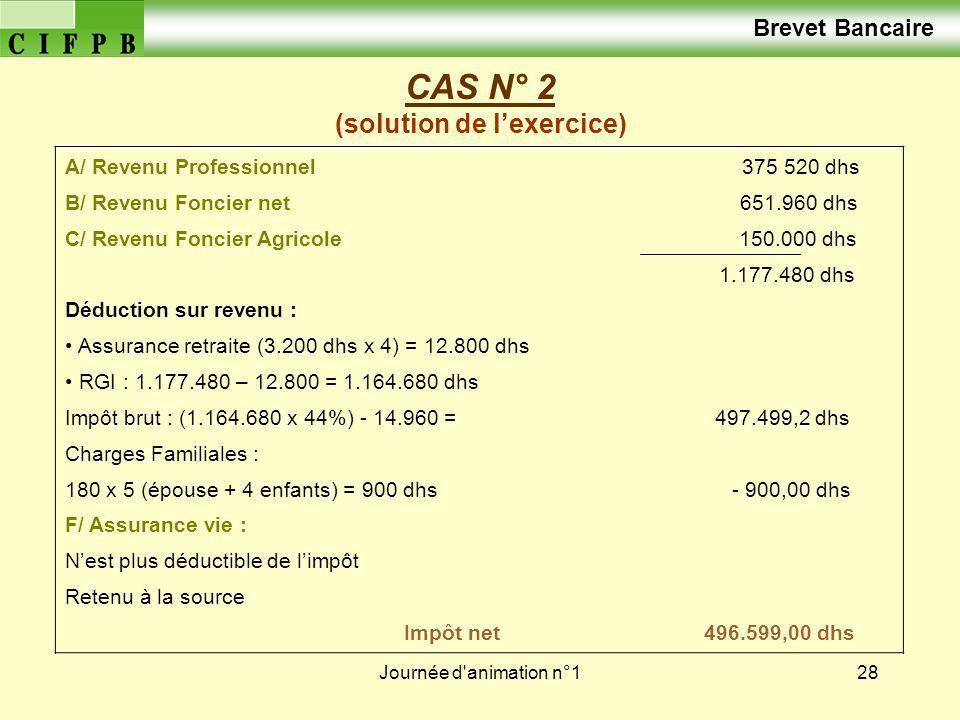 Journée d'animation n°128 CAS N° 2 (solution de lexercice) A/ Revenu Professionnel 375 520 dhs B/ Revenu Foncier net 651.960 dhs C/ Revenu Foncier Agr